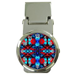Red Black Blue Art Pattern Abstract Money Clip Watches by Costasonlineshop