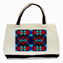 Red Black Blue Art Pattern Abstract Basic Tote Bag  by Costasonlineshop