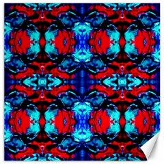 Red Black Blue Art Pattern Abstract Canvas 16  X 16   by Costasonlineshop