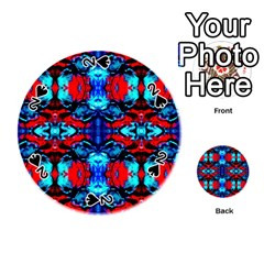 Red Black Blue Art Pattern Abstract Playing Cards 54 (round)
