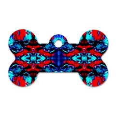 Red Black Blue Art Pattern Abstract Dog Tag Bone (one Side) by Costasonlineshop