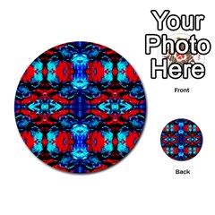 Red Black Blue Art Pattern Abstract Multi Purpose Cards (round)  by Costasonlineshop