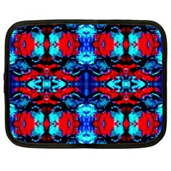 Red Black Blue Art Pattern Abstract Netbook Case (xxl)
