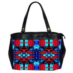 Red Black Blue Art Pattern Abstract Office Handbags (2 Sides)