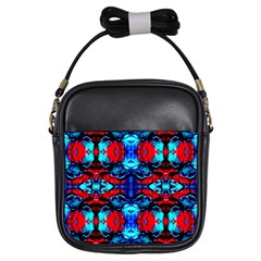 Red Black Blue Art Pattern Abstract Girls Sling Bags by Costasonlineshop