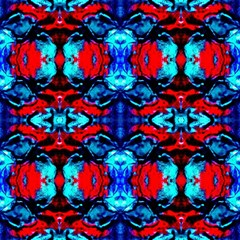 Red Black Blue Art Pattern Abstract Magic Photo Cubes by Costasonlineshop