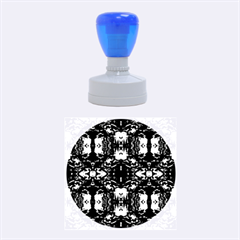 Red Black Blue Art Pattern Abstract Rubber Round Stamps (medium) by Costasonlineshop