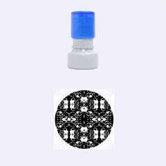 Red Black Blue Art Pattern Abstract Rubber Round Stamps (small) by Costasonlineshop