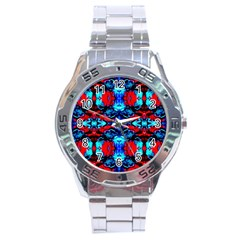 Red Black Blue Art Pattern Abstract Stainless Steel Men s Watch