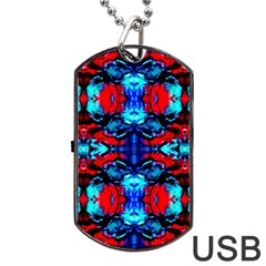 Red Black Blue Art Pattern Abstract Dog Tag Usb Flash (one Side) by Costasonlineshop