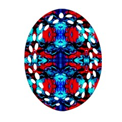 Red Black Blue Art Pattern Abstract Ornament (oval Filigree)  by Costasonlineshop