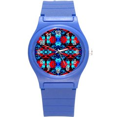 Red Black Blue Art Pattern Abstract Round Plastic Sport Watch (s) by Costasonlineshop