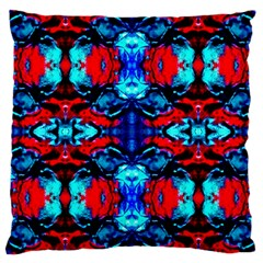 Red Black Blue Art Pattern Abstract Large Cushion Cases (two Sides)  by Costasonlineshop