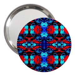 Red Black Blue Art Pattern Abstract 3  Handbag Mirrors