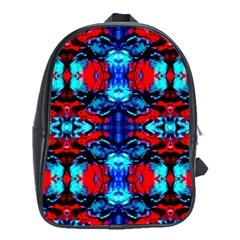 Red Black Blue Art Pattern Abstract School Bags (xl)