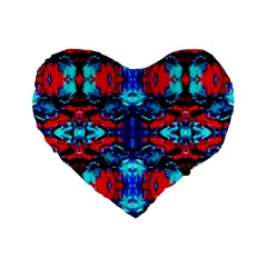 Red Black Blue Art Pattern Abstract Standard 16  Premium Heart Shape Cushions