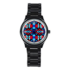 Red Black Blue Art Pattern Abstract Stainless Steel Round Watches
