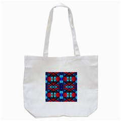 Red Black Blue Art Pattern Abstract Tote Bag (white)  by Costasonlineshop