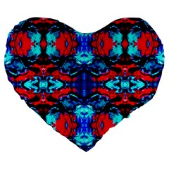 Red Black Blue Art Pattern Abstract Large 19  Premium Flano Heart Shape Cushions by Costasonlineshop