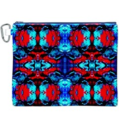 Red Black Blue Art Pattern Abstract Canvas Cosmetic Bag (xxxl)  by Costasonlineshop