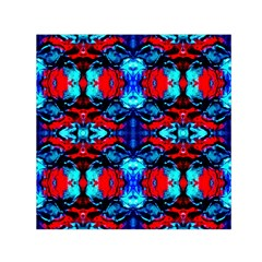 Red Black Blue Art Pattern Abstract Small Satin Scarf (square) by Costasonlineshop