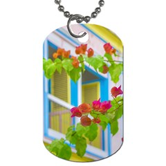 Colored Flowers In Front Ot Windows House Print Dog Tag (two Sides) by dflcprints