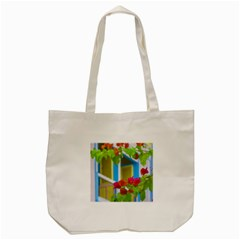 Colored Flowers In Front Ot Windows House Print Tote Bag (cream)  by dflcprints