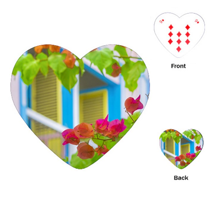Colored Flowers In Front Ot Windows House Print Playing Cards (Heart)