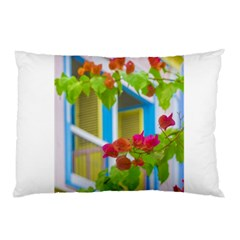 Colored Flowers In Front Ot Windows House Print Pillow Cases by dflcprints