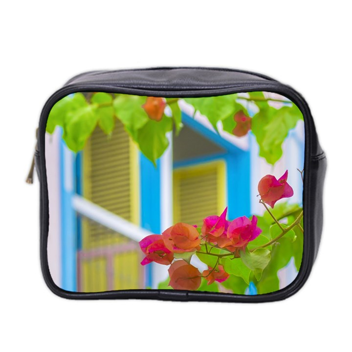 Colored Flowers In Front Ot Windows House Print Mini Toiletries Bag 2-Side