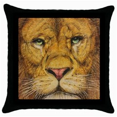 Regal Lion Drawing Throw Pillow Cases (black) by KentChua
