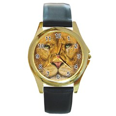 Regal Lion Drawing Round Gold Metal Watches by KentChua