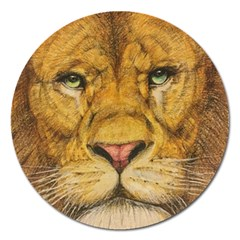 Regal Lion Drawing Magnet 5  (round) by KentChua