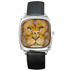 Regal Lion Drawing Square Metal Watches by KentChua