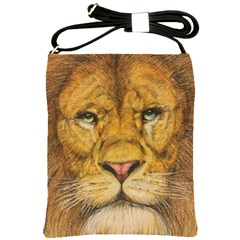 Regal Lion Drawing Shoulder Sling Bags by KentChua