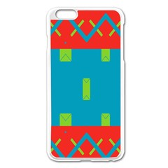 Chevrons And Rectangles 			apple Iphone 6 Plus/6s Plus Enamel White Case by LalyLauraFLM