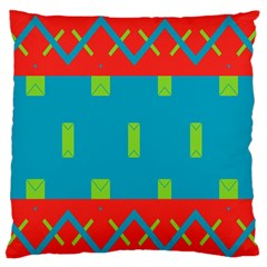 Chevrons And Rectangles 	large Flano Cushion Case (two Sides) by LalyLauraFLM