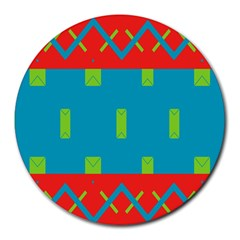 Chevrons and rectangles Round Mousepad by LalyLauraFLM