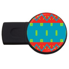 Chevrons And Rectangles 			usb Flash Drive Round (2 Gb) by LalyLauraFLM
