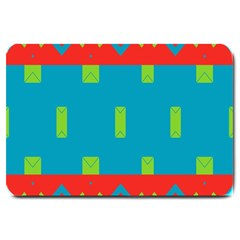 Chevrons And Rectangles large Doormat by LalyLauraFLM