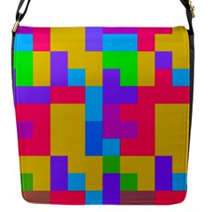 Colorful Tetris Shapes 			flap Closure Messenger Bag (s) by LalyLauraFLM