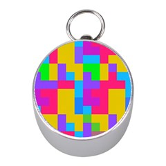 Colorful Tetris Shapes silver Compass (mini) by LalyLauraFLM