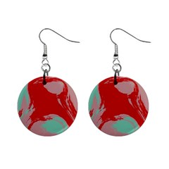 Red Pink Green Texture 			1  Button Earrings