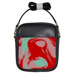 Red Pink Green Texture 			girls Sling Bag by LalyLauraFLM