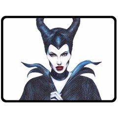 Maleficent Drawing Fleece Blanket (large)  by KentChua