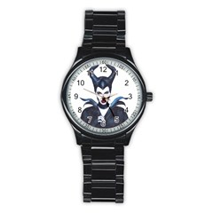 Maleficent Drawing Stainless Steel Round Watches by KentChua