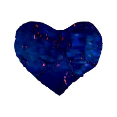 Dark Blue Waters With Hints Of Pink Standard 16  Premium Flano Heart Shape Cushions by timelessartoncanvas