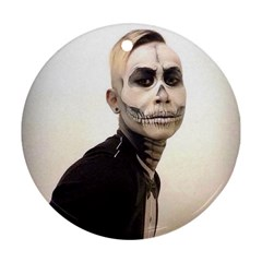 Halloween Skull And Tux  Round Ornament (two Sides)  by KentChua