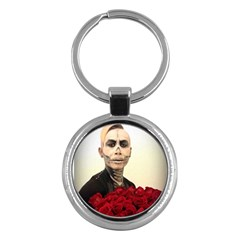 Halloween Skull Tux And Roses  Key Chains (round)