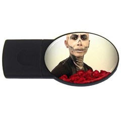 Halloween Skull Tux And Roses  Usb Flash Drive Oval (2 Gb)  by KentChua